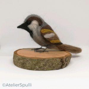 Vilten vogel, vilten dieren, genaaldvilte vogel, vogel naaldvilten, vogeltje van vilt, vogeltje van wol.